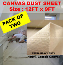 2 X Cotton Canvas Heavy Duty Professional Quality Dust Sheet 12ft x 9ft