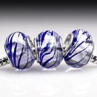 5pcs Murano Glass European Spacer Beads Lampwork Fit Bracelet Chain LB0059 FB
