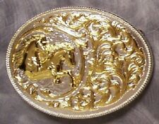 Pewter Belt Buckle Animal Horse Heads and Filigree NEW 2 tone