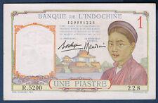 BILLET DE BANQUE D'INDOCHINE.UNE PIASTRE Pick n°54.b de 1932/1939 SUP R.5200 228