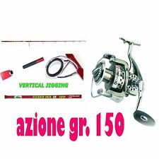 KIT CANNA ASAKU IKA 150g MULINELLO DOMINO 5000  PESCA ESCHE VERTICAL JIGGING