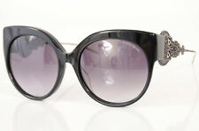 Alexander McQueen AM0061SA black skull crystal cat eye frame sunglasses NEW $950