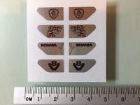 TAMIYA 1/14 SCANIA truck CHROME sticker set for front mudguard fender V8 badge