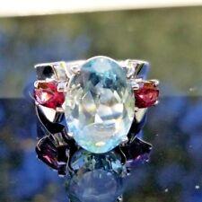 6CT Aquamarine Pink Tourmaline 14k white gold ring