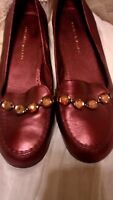 ANTONIO MELANI SIZE 7.5 METALLIC* BURGUNDY BROWN* RHINESTONE LOAFERS