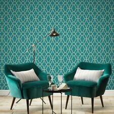 TEAL & GOLD CASABLANCA TRELLIS FRETWORK WALLPAPER RASCH 309324