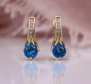 4Ct Round Cut Blue Topaz Diamond Drop & Dangle Earrings 18K Yellow Gold Finish