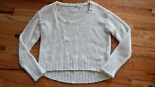 ROXY The Elms White Ivory Cream Sparkle boho hippie Knit Sweater Crew Medium NEW