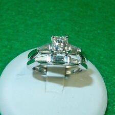 Custom Platinum 1.00 TCW Princess Cut Leo Diamond Bridal set - Wedding Set