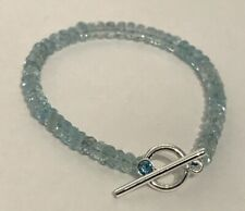 "Aquamarine Gem 6.25"" Bracelet with Sterling Silver & Crystal Toggle Clasp"