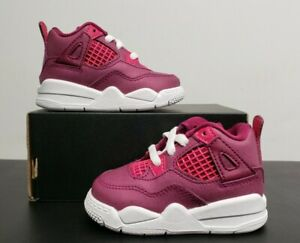 NIKE JORDAN 4 RETRO TRUE BERRY RUSH PINK WHITE BQ7672-661 SIZE 4C TODDLER NEW