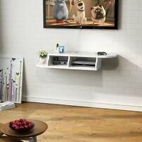 Tribesigns 2-Tier Modern Wall Mounted Floating Shelf White TV Console 47x10.6x7""