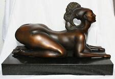 Ernst Fuchs museale Rarität Bronze Sphinx auf Marmorsockel Venturi Arte selten