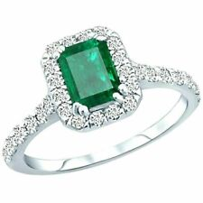 Halo 2.35 Ct Green Emerald Cut Cubic Zirconia 925 Sterling Silver Wedding Ring