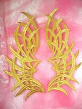 """GB370 Embroidered Applique Gold Mirror Pair Patch 9.5"""""""