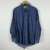 Charles Tyrwhitt Mens Button Up Shirt 44 / 3XL Slim Blue Long Sleeve Collared