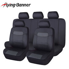 6PU Leather Seat Covers Set 11 Pieces Universal fit car SUV Van pick up black
