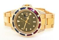 Rolex GMT Master II 16718 Heavy 18k Gold Diamond Ruby Sapphire Bezel Mens Watch