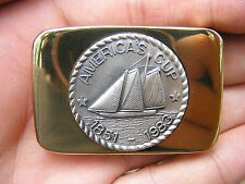 Vtg AMERICA'S CUP Belt Buckle BOAT Racing 1983 Sailboat RACE Sailing RARE MINT