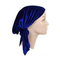 Pretied Bandana Cancer Headscarf Velvet Royal Blue Hair Loss Chemo Womens Beanie