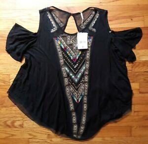 NWT Free People Top Sz XS Beaded Cold Shoulder Embroidered Open Back Boho Hippie