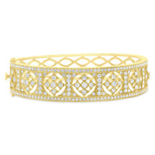 3.42 CT 14K Yellow Gold Round Diamond Antique Inspired Victorian Bangle Bracelet