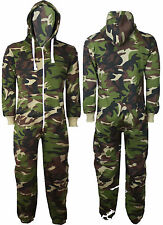 NEW MENS WOMENS CAMOUFLAGE ARMY PRINT ONESIE HOODED JUMPSUIT ALL IN ONE S M L XL