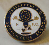 HARTLEPOOL UNITED FC Vintage SUPPORTERS CLUB Badge Brooch pin In gilt 27mm Dia