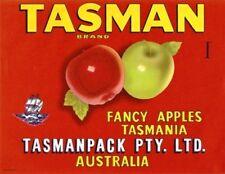 "SALE- Vintage Tasmania Apple Case Labels Fruit Art Poster ""baker's dozen""-R (13)"