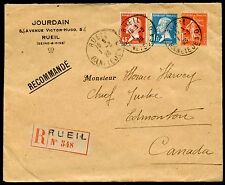 FRANCE 1928 RUEIL REG-COVER TO EDMONTON CANADA