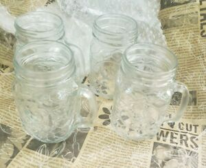 4X Red Rooster Mason Mugs Glasses With Handle Farmhouse Rustic Chicken 17 Ounce
