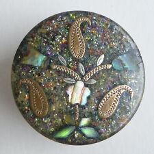 Bouton ancien - Papier-mâché et inclusion  - 23 mm - Inlay Horn Button