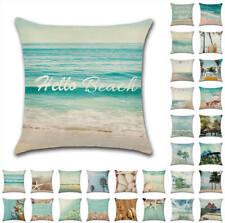 "18"" UK Blue Sea Summer Tree Beach Cushion Covers Throw Pillow Cases Home Decor"