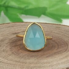 Aqua Chalcedony Stackable Ring 18k Gold Plated Dainty Engagement Ring Jewelry