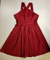 Meaneor Womens Vintage 1950s Classy VNeck Strap Cocktail Swing Dress Red Shimmer
