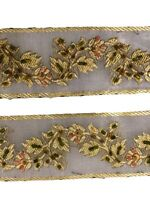 Embroidered Antique Indian Border Sari Trim, By 1 Yd Decorative Ribbon ST1133
