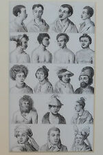Vintage engraving ethnographic tribal anthropology heads tattoos face piercings