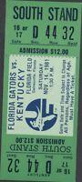 November 1981 Florida Gators vs Kentucky Florida Field Gainesville Ticket