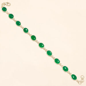 """6.70 Gm 925 Solid Sterling Silver Natural Green Onyx Cab Stone Bracelet 8"""" i1061"""