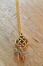 Outlander Gold Celtic Knot Cross Dragonfly in Amber Scottish Irish Necklace