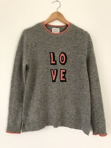 CLEMENTS RIBERO Pop Love Jumper Medium/ UK 12 Intarsia Knit Grey Pink Lambswool