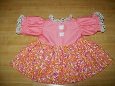 "16"" CPK Cabbage Patch Kids PALE CORAL+PINK/ORANGE PRINT DRESS+BUTTERFLY BUTTONS"