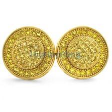 Lemonade Domed Circle M Micro Pave Bling Earrings