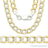 Solid 925 Sterling Silver 14k Yellow Gold Plated 4.3mm Curb Chain Necklace Italy