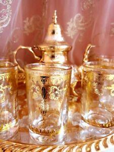 Moroccan Handmade Golden Tea Set Large TeaPot,Tea Tray,Set Of 6 Tea Cups *NEW*