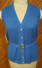 New listing Vintage Joyce Sportswear Women's Size L Sweater Vest Blue Gold Belt Brand New