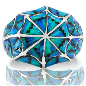Handmade Men Ring 925 Sterling Silver Blue Opal Stone Size 6 7 8 9 10 12 13 14