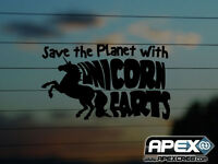 Save the Planet with Unicorn Farts - Funny Vinyl Sticker - Black
