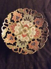 Vintage Brass Highly Decorative Enameled Scalloped Stand