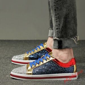 Mens Glitter Sequins Casual Skateboard Shoes Flat Lace Up Outdoor Sneakers Shoes